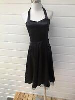 HEARTS & ROSES Black Satin Halterneck Rockabilly Fit & Flare Dress - Size 10
