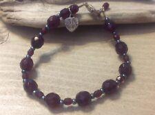 Catholic Virgin Mary Charm Ruby Red Glass Stone Sterling Silver 925 Bracelet