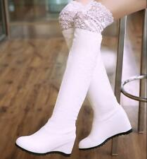 New Womens Sexy PU Leather Lace Hidden Wedge Heel Casual Over the Knee Boots
