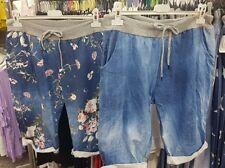 New Ladies Italian Lagenlook Denim Blue joggers shorts size 16 18 20 22 plus