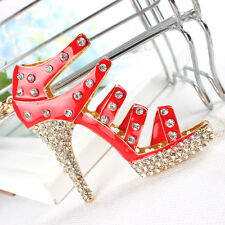 Shoe Red High-Heel Charm Pendant Crystal Purse Bag Keyring Key Chain Accessories