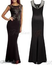 Women Celeb Evening Dress Black Ball Gown Prom Party Formal Long Maxi Size 12 14