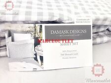 Charter Club Damask Designs 500 TC QUEEN Fitted Sheet & Cases Gingham Dove