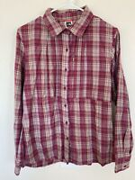 The North Face Women's L Pink Plaid Pleated Front LS Flannel Button Up Shirt