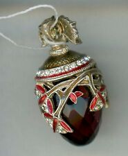 Russian Faberge egg Pendant LARGE RED GEM  w/ciras of w/gold decor & stones.