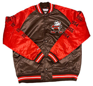 Men's Mitchell & Ness NFL Cleveland Browns Tough Season Satin Jacket