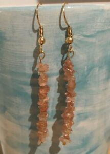 Semi Precious Sunstone Chip Threaded Earrings with Gold Plated Ear Wires