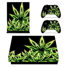 Neon Cannabis Weed Xbox one X Console Vinyl Skin Decal Sticker Covers Set