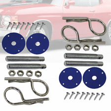 2 Sets Hood Pin with Chrome Scuff Plate Universal Compatible Blue Silver