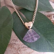 "Auralite-23 Polished Crystal Healing 18k gf pendant Love Heart Gold Necklace 18"""
