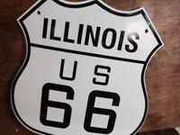 VINTAGE STLYE  ''ILLINOIS ROUTE US 66'' 13X11.5 INCH PORCELAIN, GAS & OIL SIGN