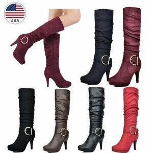 Women's faux fur lining Knee High High Heel Winter Inside Zipper Fashion Boots