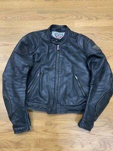 First Gear Hein Gericke Leather Jacket Men Motorcycle Biker Padded Vintage