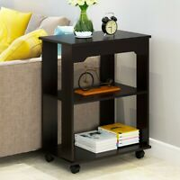 Wood Sofa Side End Side Bedside Table Nightstand W/Shelf Storage Shelf Bedroom