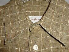 New$375 15x35 Ermenegildo Zegna Small Tan Plaid LINEN Shirt ITALY 38 Nordstrom