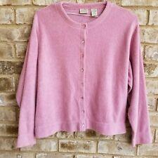St. Johns Bay Womens Pink Soft Sweater Cardigan Petite XL Casual Work Plush