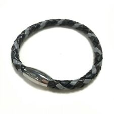 Men's Black, Dark Brown & Grey Leather & Stainless Steel Bracelet