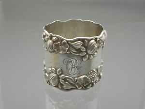 Antique Victorian Gorham Water Lilies Sterling Silver Napkin Ring Monogram LHC