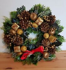 Vintage Christmas Wreath, Good Quality, Real Fir Cones, Ribbon And Glitter Fruit