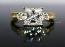 Princess Cut Engagement  Ring three stone yellow Solid gold 14k 2.45 CT VVS/D