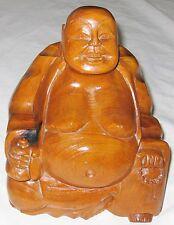 "Wood Carved 10 1/2"" Smiling Large Sitting Asian Budah Art Sculpture"
