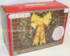 2Ft Lighted Holographic Yellow Bow Christmas Holiday Outdoor Wedding Decoration