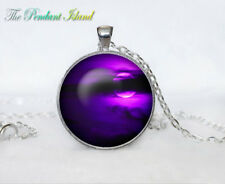 Galaxy Space Purple Moon Tibet silver Cabochon glass pendant chain Necklace