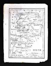 1833 Perrot Tardieu Miniature Map - Aisne - Laon Soissons St. Quentin - France