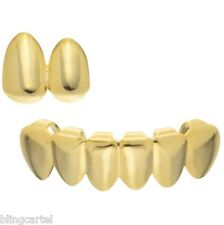 Grillz Set Double Cap Tooth Top & Bottom Six Lower Teeth 14k Gold Plated Grills