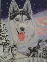 HUSKY IS A 14 COUNT  CROSS STITCH KIT WITH  DMC, ARIADNA OR  ANCHOR THREADS