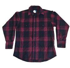 Vintage Wrangler Men STRIPE FLANNEL Cowboy Western Black PEARL SNAP Shirt L