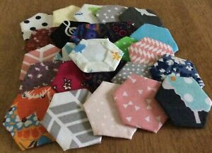 25 Patchwork Hexagons Ready Tacked To Papers 1 Inch Sides 100% Cotton Fabrics