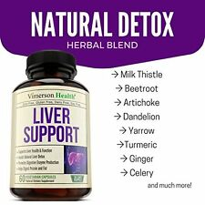 Liver Cleanse & Detox Support Supplement - Natural Non-Gmo Herbal Blend with Mil
