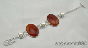 """8"""" 40mm agate 11mm round pearl bracelet"""