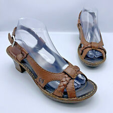 Born Enga W61487 Women Brown Leather Strappy Sandal Shoe Size 8 EUR 39 Pre Owned