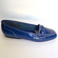 Enzo Angiolini Blue Liberty L5 Patent Leather White Stitch Trim Loafers - 7M