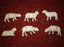 10 pecore plastica landi per pastori 6 cm presepe sheep crib