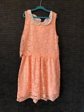 WORN ONCE - MAYORAL PEACH LACE DRESS - AGE 12