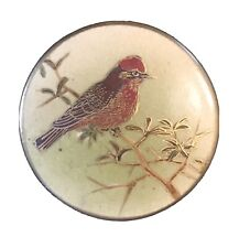 GORGEOUS EXTRA LARGE SATSUMA BUTTON WITH RED SUMMER TANAGER BIRD
