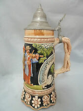 """VINTAGE GERMAN MUSICAL BEER STEIN with Pewter Lid. Signed Approx. 10.75"""" TALL."""