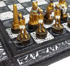 "EGYPTIAN ANUBIS CHESS SET Gold & Buff Men W/ 16"" HIEROGLYPHICS EGYPT BOARD"
