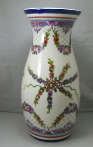 Mexico Pottery Table Vase Purple & Red Flowers Greenery Cobalt Blue Accents