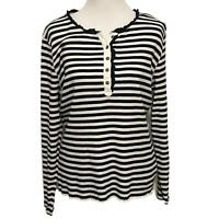 Women's Tommy Hilfiger Navy Blue And White Striped Top Size XL Knit Ruffle Trim