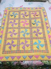 """Vintage Patchwork Baby Quilt /Wall Hanging Pinwheel Multicolored Plaid 30"""" X 36"""""""