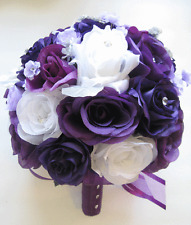 Wedding Bouquet Bridal Silk Flower 17 piece Package PLUM LAVENDER PURPLE SILVER