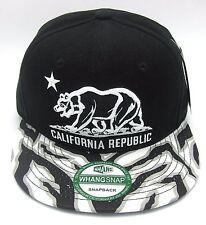 CALIFORNIA REPUBLIC Snapback Cap Hat CALI Bear Flag Black Silver New