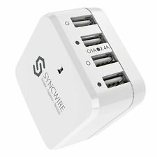 Syncwire 4-Port USB Wall Charger UK EU US Travel Adaptor Plug for iPhone Galaxy