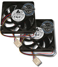 2 Delta Quality 70mm x 15mm Ball Bearing PWM 4 Pin CPU Cooler Replacement Fans