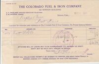 U.S. The Colorado Fuel & Iron Company 1907 Denver Colo. Paid Invoice Ref 40436