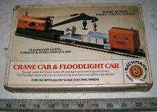 Bachmann Heavy Weight Amtrak MoW 6-Wheel Ho Operating Crane & Floodlight Car wOb